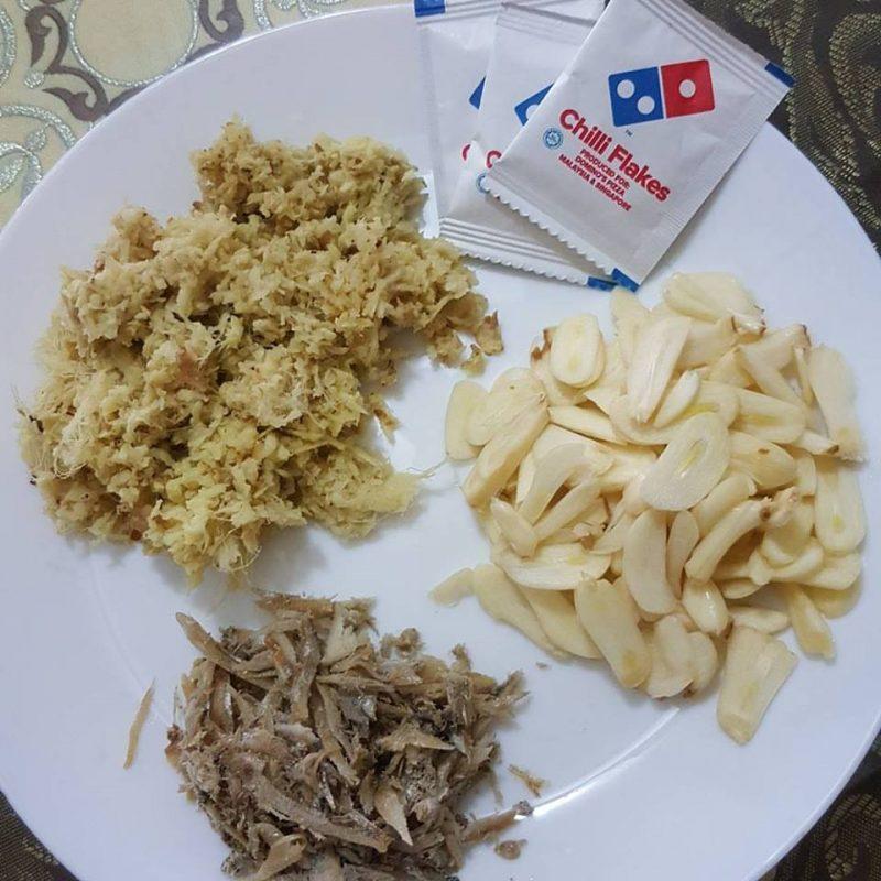 serunding halia, serunding halia homemade, makanan berpantang, makanan buang angin, resepi serunding halia
