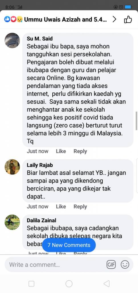 Ramai Ibu Bapa Sokong Tangguh Persekolahan Hingga Malaysia Bebas COVID-19 Sepenuhnya